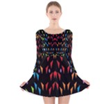 ;; Long Sleeve Velvet Skater Dress