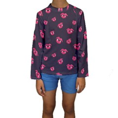 Pattern Of Vampire Mouths And Fangs Kids  Long Sleeve Swimwear