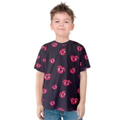 Pattern Of Vampire Mouths And Fangs Kids  Cotton Tee by CreaturesStore