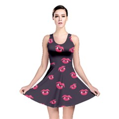 Pattern Of Vampire Mouths And Fangs Reversible Skater Dress by CreaturesStore