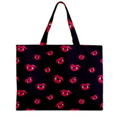 Pattern Of Vampire Mouths And Fangs Mini Tote Bag by CreaturesStore