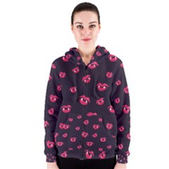 Pattern Of Vampire Mouths And Fangs Women s Zipper Hoodie