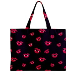 Pattern Of Vampire Mouths And Fangs Zipper Mini Tote Bag by CreaturesStore