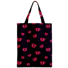 Pattern Of Vampire Mouths And Fangs Zipper Classic Tote Bag by CreaturesStore