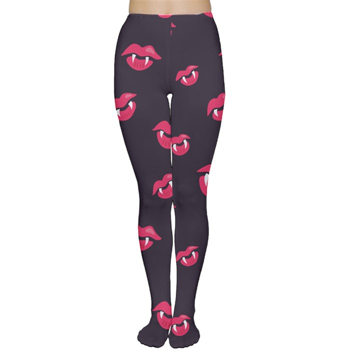 Pattern Of Vampire Mouths And Fangs Women s Tights