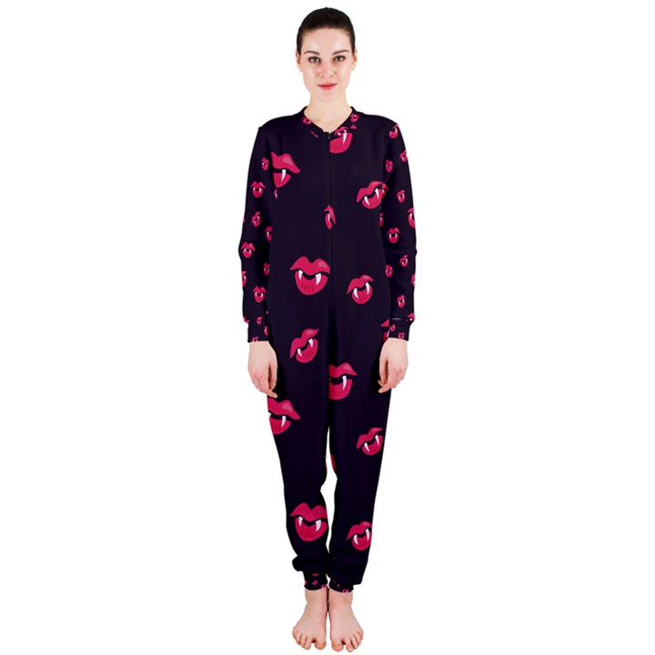 Pattern Of Vampire Mouths And Fangs OnePiece Jumpsuit (Ladies)