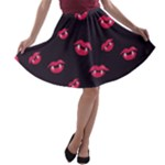 Pattern Of Vampire Mouths And Fangs A-line Skater Skirt