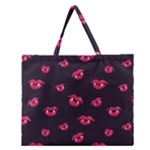 Pattern Of Vampire Mouths And Fangs Zipper Large Tote Bag