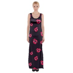 Pattern Of Vampire Mouths And Fangs Maxi Thigh Split Dress