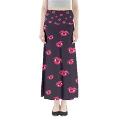 Pattern Of Vampire Mouths And Fangs Maxi Skirts
