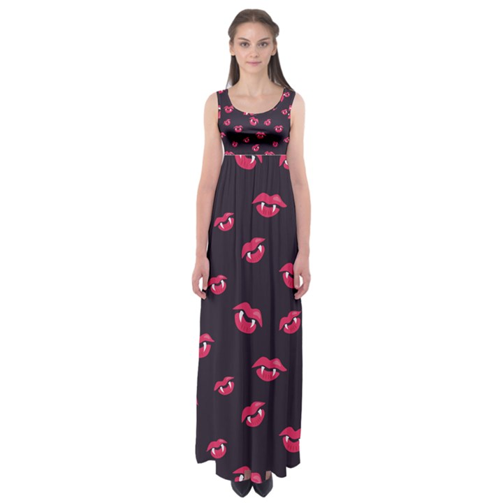 Pattern Of Vampire Mouths And Fangs Empire Waist Maxi Dress