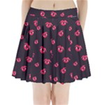 Pattern Of Vampire Mouths And Fangs Pleated Mini Skirt