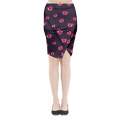 Pattern Of Vampire Mouths And Fangs Midi Wrap Pencil Skirt