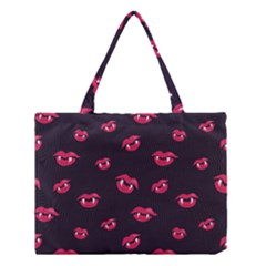 Pattern Of Vampire Mouths And Fangs Medium Tote Bag by CreaturesStore