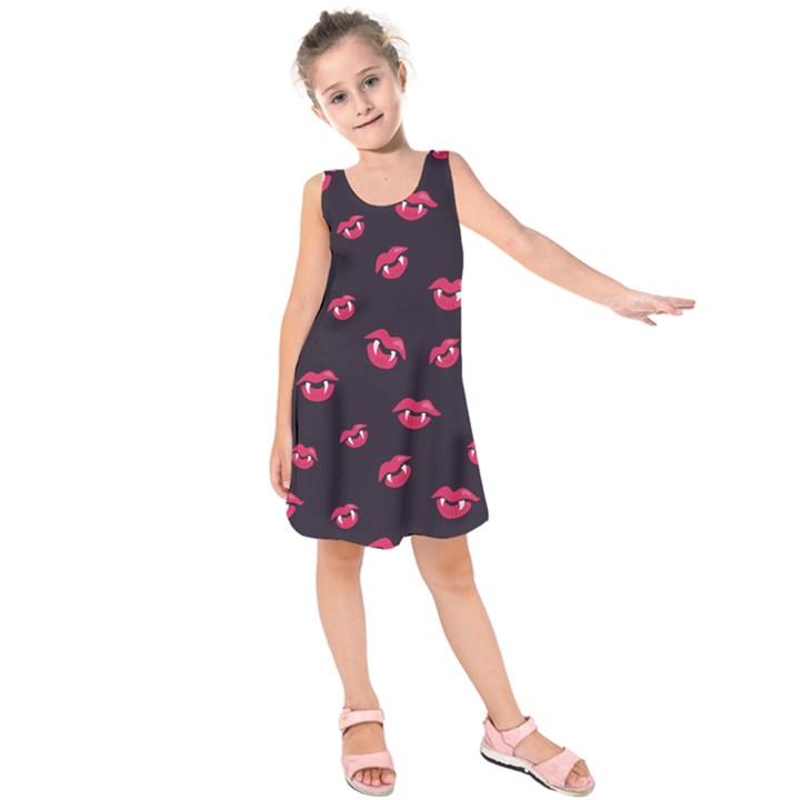 Pattern Of Vampire Mouths And Fangs Kids  Sleeveless Dress
