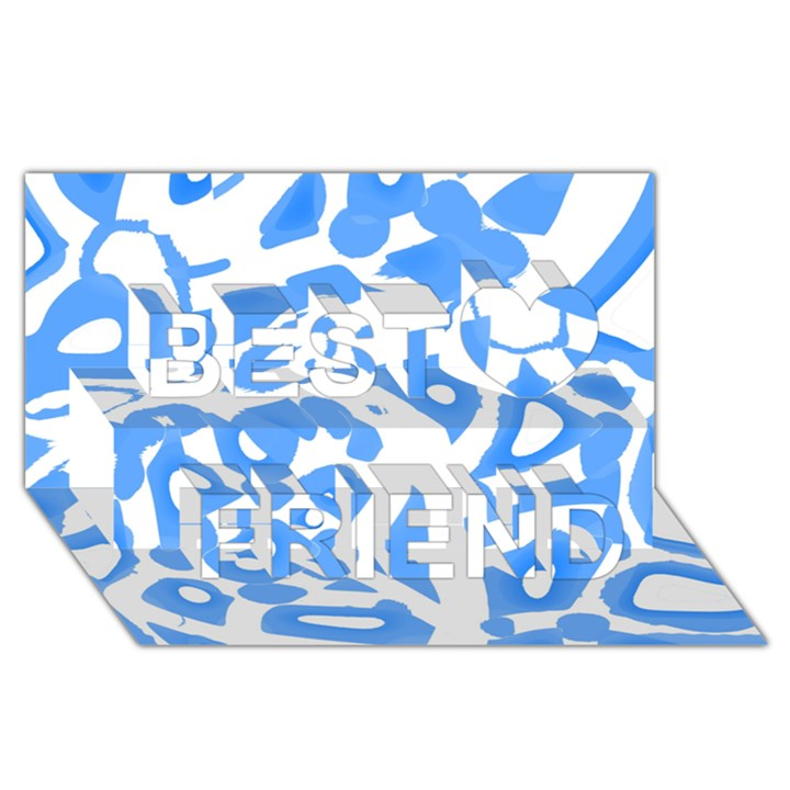 Blue summer design Best Friends 3D Greeting Card (8x4)