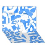 Blue summer design LOVE 3D Greeting Card (7x5)