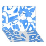 Blue summer design Apple 3D Greeting Card (7x5)