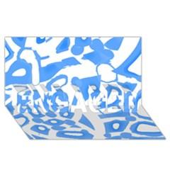 Blue summer design ENGAGED 3D Greeting Card (8x4)