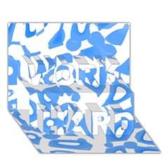 Blue summer design WORK HARD 3D Greeting Card (7x5)