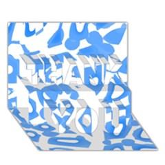 Blue summer design THANK YOU 3D Greeting Card (7x5)