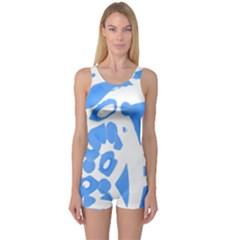Blue summer design One Piece Boyleg Swimsuit