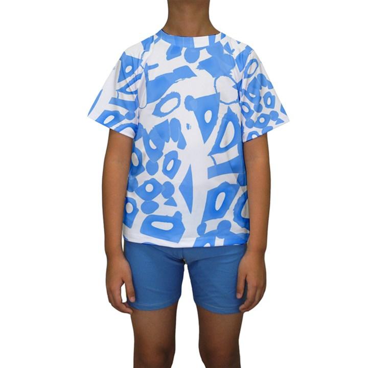 Blue summer design Kids  Short Sleeve Swimwear