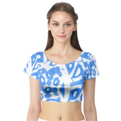 Blue Summer Design Short Sleeve Crop Top (tight Fit)