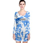 Blue summer design Long Sleeve Bodycon Dress