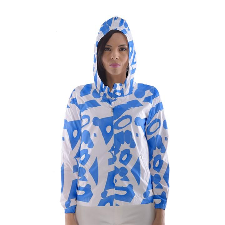 Blue summer design Hooded Wind Breaker (Women)
