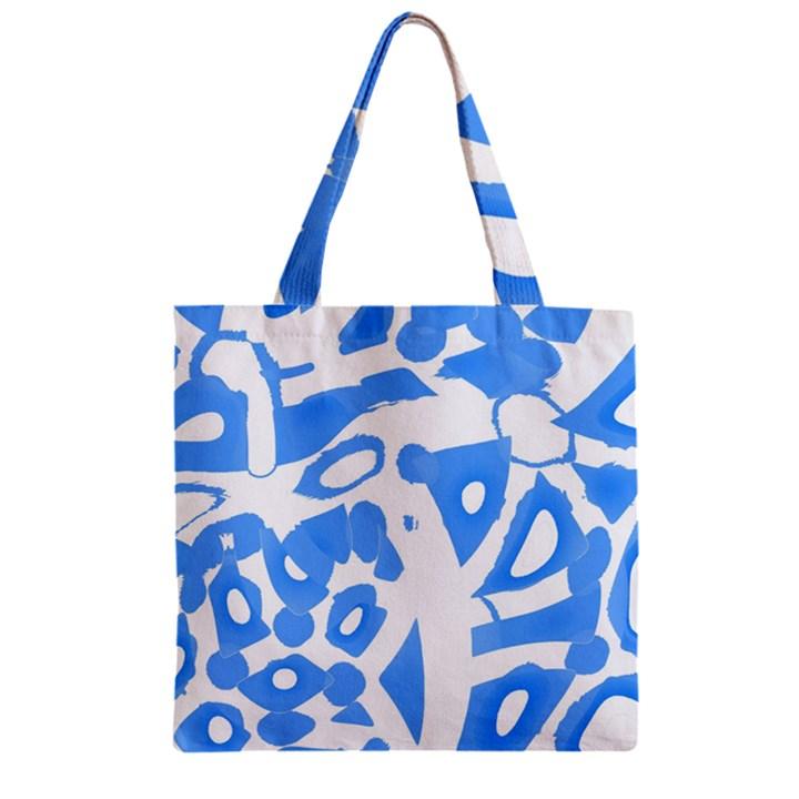 Blue summer design Zipper Grocery Tote Bag