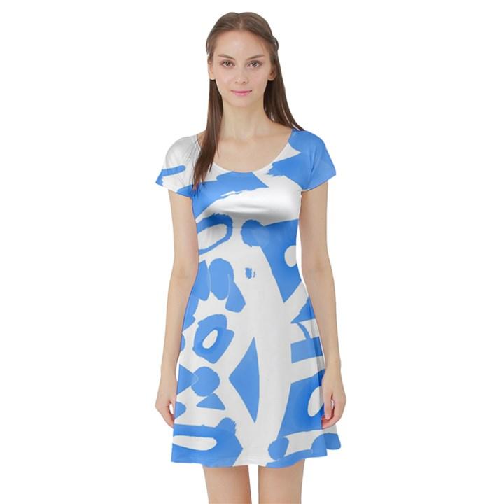 Blue summer design Short Sleeve Skater Dress