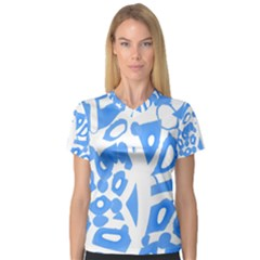 Blue Summer Design Women s V Neck Sport Mesh Tee