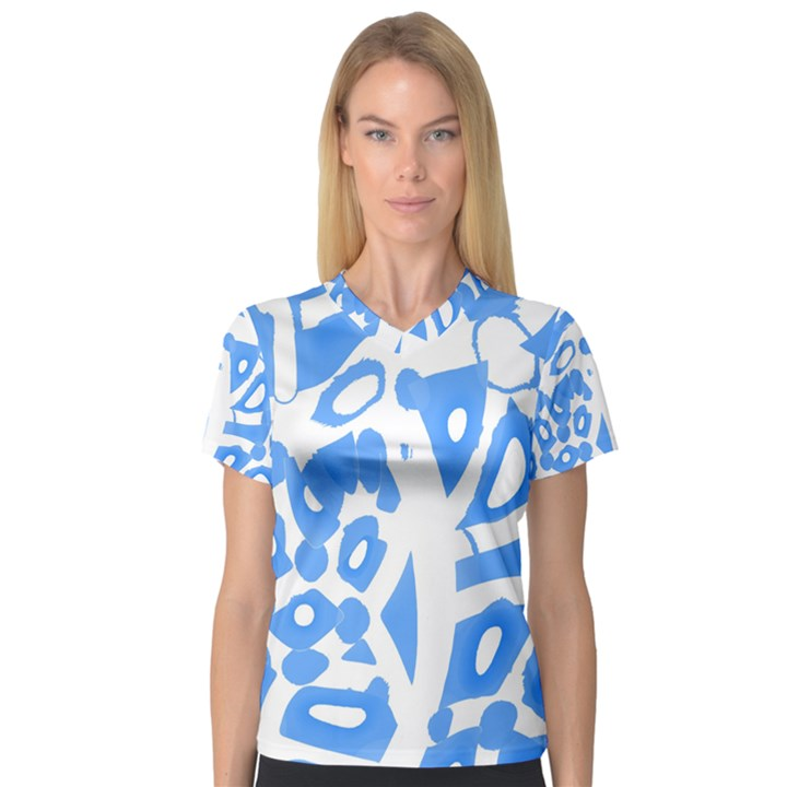 Blue summer design Women s V-Neck Sport Mesh Tee