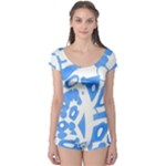 Blue summer design Boyleg Leotard