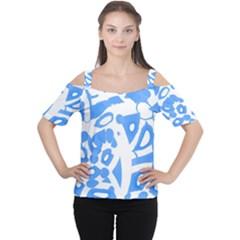 Blue summer design Women s Cutout Shoulder Tee