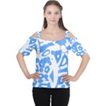 Blue summer design Women s Cutout Shoulder Tee