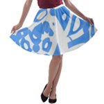 Blue summer design A-line Skater Skirt