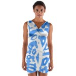 Blue summer design Wrap Front Bodycon Dress