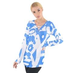 Blue summer design Women s Tie Up Tee