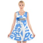 Blue summer design V-Neck Sleeveless Skater Dress