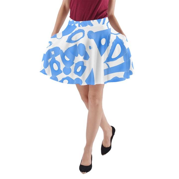 Blue summer design A-Line Pocket Skirt