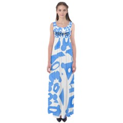 Blue Summer Design Empire Waist Maxi Dress