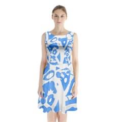 Blue summer design Sleeveless Chiffon Waist Tie Dress