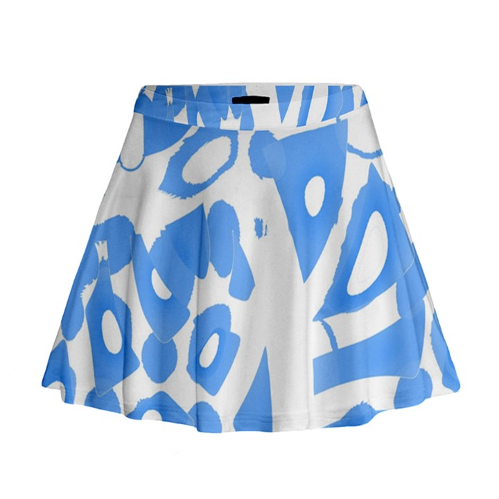 Blue summer design Mini Flare Skirt