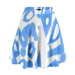 Blue summer design High Waist Skirt