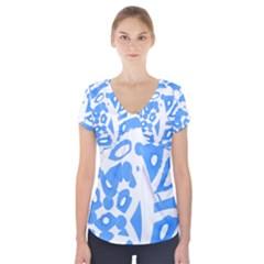 Blue summer design Short Sleeve Front Detail Top