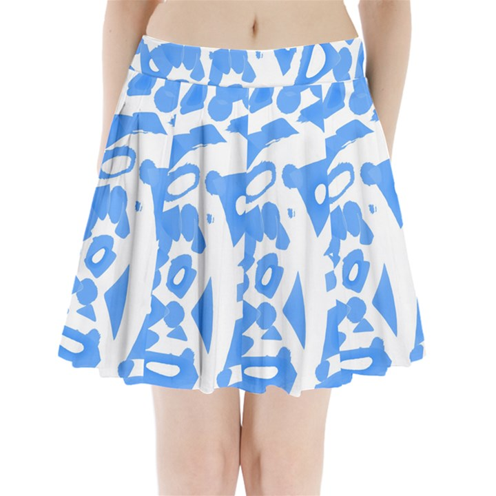 Blue summer design Pleated Mini Skirt