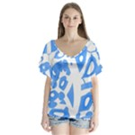 Blue summer design Flutter Sleeve Top