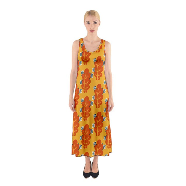 Bugs Eat Autumn Leaf Pattern Sleeveless Maxi Dress